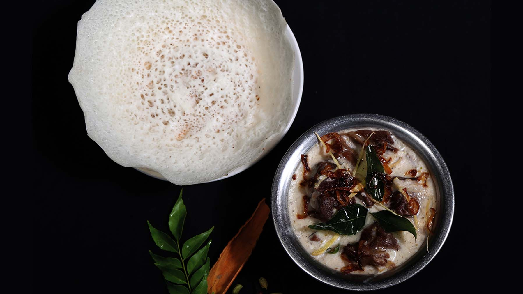 Best selling south indian food combo at tamarind- mutton stew and appam