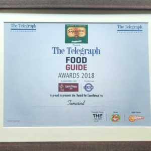 Award for Excellence- Telegraph Food Guide Awards 2018