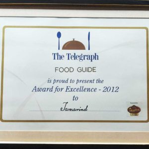 Award for Excellence- The Telegraph Food Guide 2012